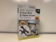 24 X NEW BOXED iTECH IN CAR iPAD & TABLET HOLDER FOR HEADREST. VERSATILE CAR HEADREST MOUNTING