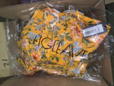 12 X BRAND NEW INDIVIDUALLY PACKAGED FIGLEAVES YELLOW FLORAL BRIONY UNDERWIRED BANDEAU STRAPLESS