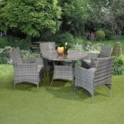 New Boxed - Luxe Lilly 4 Seater Rattan Round Dining Table & Chair Set. This brilliant set offers
