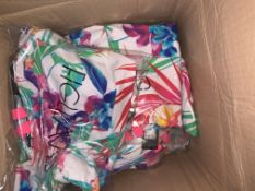 10 X BRAND NEW INDIVIDUALLY PACKAGED WHITE TROPICAL BORA BORA NON WIRED PLUNGE SWIMSUITS 754998 (