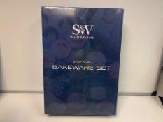 2 X NEW BOXED SCOTT & WHITE 9 PIECE EASY STORE BAKEWARE SET. RRP £89.99 EACH. THE 9 PIECE NON-STICK,