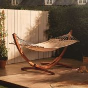New Boxed - Luxe 1 Person Hammock with Wooden Frame. Relax in the sun and enjoy your outdoor
