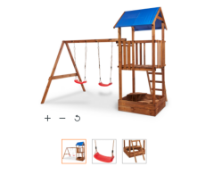 New Janer Wooden Swing Set. From the age of 3 years Product height 2770mm Product weight 160kg