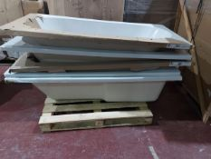 (W5) PALLET TO CONTAIN 5 x ASSORTED BATH TUBS TO INCLUDE SQUARE AND ROUND. ORIGINAL RRP CIRCA £1,