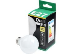 PALLET TO CONTAIN 360 X NEW BOXED DIALL E27 FITTING LED LIGHT BULBS 9.5W=60W