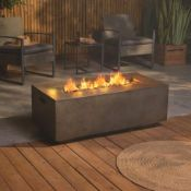 New Boxed - Luxe Rectangle Gas Fire Pit. .Spend nights around the fire with this safe and easy-to-