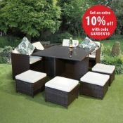 NEW BOXED - LUXE Roxanne 9 Piece Rattan Cube Set. Modern and practical, the Roxanne cube set can