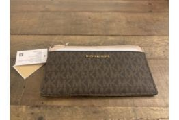 BRAND NEW MICHAEL KORS MONEY PIECES BROWN/SOFT PINK LARGE SLIM CARD CASE (3836) RRP £119 - 1 P2