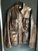 EX CATWALK CP COMPANY LEATHER JACKET MISSING BADGE ON ARM