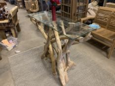 SOLID WOODEN CONSOLE TEAK BRANCH WITH GLASS TOP L120 X W40 X H100 RRP £625