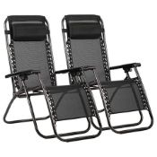 2 X NEW BOXED LUXE HOME & GARDEN ZERO GRAVITY LOUNGER CHAIRS