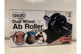 PALLET TO CONTAIN 72 X NEW BOXED ASAB DUAL WHEEL AB ROLLER SET WITH MINI EVA MAT - TONES MUSCLES -