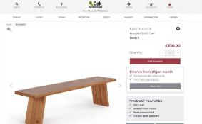 New Boxed - Cantilever Natural Solid Oak Bench. 180cm Long. RRP £330. For a more open seating