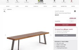 New Boxed - Cantilever Rustic Solid Oak & Metal Bench. 180cm Long. RRP £330. For a more open seating