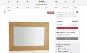 5 X NEW BOXED Cosmopolitan Mirror Natural Solid Oak 900mm x 600mm Wall Mirror. RRP £269.99 EACH,