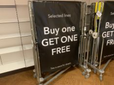 5 X WHEELED METAL PORTABLE DISPLAY STANDS