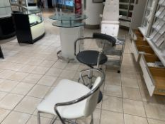 CLINIQUE DISPLAY SET UP WITH 2 STOOLS