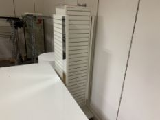 MIXED LOT INCLUDING 3 X DISPLAY TABLES AND 4 X RAILINGS ON WHEELS AND 1 X PORTABLE DISPLAY STAND