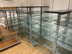 MIXED LOT INCLUDING 6 X ASSORTED DISPLAY STANDS AND 3 X ASSORTED RAILINGS