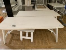 10 X VARIOUS DISPLAY TABLES IN VARIOUS STYLES AND SIZES, 1 STOOL AND 1 FOOTSTOOL