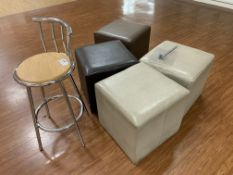 4 X FOOTSTOOLS AND 1 STOOL