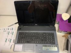 """ACER 7540G LAPTOP, WINDOWS 10, 17.3"""" HD LED SCREEN, 250 GB HARD DRIVE, BLU RAY DRIVE WITH CHARGER"""