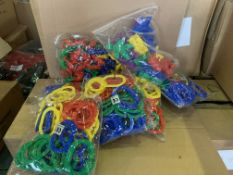16 X BRAND NEW PACKS OF 8 BAGS OF COLOURED EDUCATION PLAY SHAPES