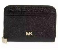 BRAND NEW MICHAEL KORS MONEY PIECES BLACK ZIP AROUND COIN CARD CASE (8119) RRP £109 - 1 P2