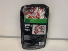16 X NEW PACKAGED AUTOCARE 2000KG TOW ROPE. 3.5M LONG. EXTRA STRONG POLYPROPYLENE ROPE. EASY