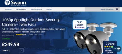 NEW BOXED Swann 1080p Spotlight Outdoor Security Camera Set - Twin Pack. RRP £249.99. Full HD