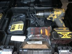 DEWALT CORDLESS BRUSHLESS COMBI DRILL COMES WITH 2 BATTERIES, CHARGER AND CARRY CASE (UNCHECKED,