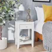 Falmouth White Bedside Table. What makes an ideal bedside table? Is it something subtle but also