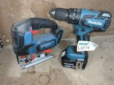 TOOL LOT INCLUDING MAKITA DRILL WITH BATTERY AND ERBAUER JIGSAW (UNCHECKED, UNTESTED) PCK
