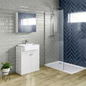 EW & BOXED 660mm Harper Gloss White Sink Vanity Unit - Floor Standing. RRP £749.99.Comes complete