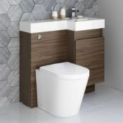 NEW & BOXED 906mm Olympia Walnut Effect Drawer Vanity Unit Right with Lyon Pan FULL SET. RRP £999.