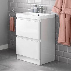 New & Boxed 600mm Denver II Gloss White Built In Basin Drawer Unit - Floor Standing. RRP £599.99.