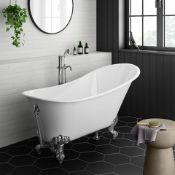 New (E3) 1600x700mm Traditional Slim Roll Top Slipper Bath - Chrome Feet. RRP £999.99.Bath