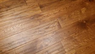 NEW BOXED 7.08m2 OF RONDA SOLID OAK PARQUET FLOORING - WHEAT. 18MM THICK. 4 SIDED BEVEL. HAND
