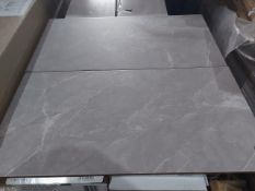 NEW PACKAGED 11.88m2 OF KILLINGTON GREY GLAZED CERAMIC WALL AND FLOOR TILES. 300x600MM. 9MM THICK