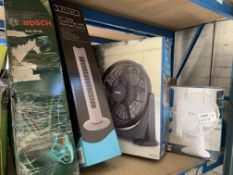MIXED LOT INCLUDING HEDGE TRIMMER, TOWER FAN, FLOOR FAN, TABLE FAN (UNCHECKED, UNTESTED)