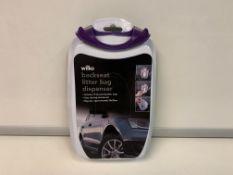 120 X NEW PACKAGED WILKO BACK SEAT LITTER BAG DISPENSERS. .EACH INCLUDES 15 DRAWSTRING LITTER