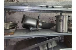 LOT CONTAINING 2 X STAINLESS STEEL SINKS, HOT WATER BOILER, TRAYS, STAND