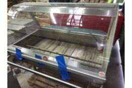 STAINLESS STEEL GLASS BOW FRONTED FOOD WARMER