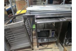 LOT CONTAINING STAINLESS STEE; TRAY HOLDER. STAINLESS STEEL PREP TABLE, MERRY CHEF MICROWAVE