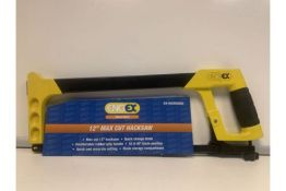10 X NEW PACKAGED ENGEX 12 INCH MAX CUT HACKSAW WITH BLADE AND COMFORTABLE RUBBER GRIP HANDLE