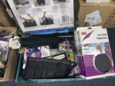 50 PIECE MIX LOT INCLUDING FOLDING TROLLEY, CAR SEAT ORGANISER, INFLATABLE CUSHIONS ETC