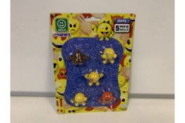 144 x NEW PACKAGED PACKS OF 5 EMOJI COLLECTABLE FIGURES IN VARIOUS CHARACTERS