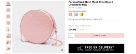 10 x NEW PACKAGED Beauti Mock Croc Round Crossbody Luxury Bag -Blush. RRP £34.99 each. NOTE: ITEM IS