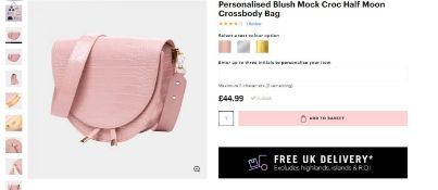 4 x NEW PACKAGED Beauti Mock Croc Half Moon Bag Blush. RRP £29.99 each - Note: Item is not