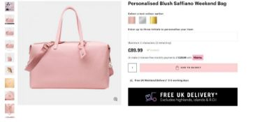 5 x NEW PACKAGED Saffiano Luxury Weekend Holdall. RRP £89.99 EACH. NOTE: ITEM IS NOT PERSONALISED.